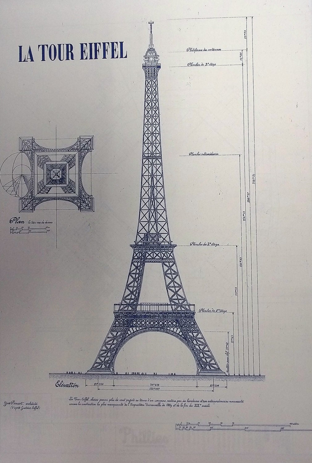 Eiffel tower in paris blueprint by blueprintplace on etsy for Where to buy blueprint paper
