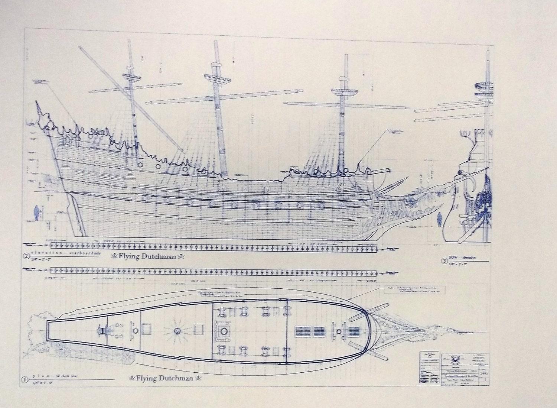Flying Dutchman Sailing Ship Blueprint From Walt By