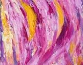 Pink Crush, OOAK Abstract Painting, Hot Pink, Orange, Pink Yellow, Purple