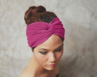 Fuchsia, Turban Twist headband, Plain color collection, Yoga headband, HTW-P43