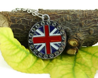 Union Jack Necklace, British Flag Necklace, Great Britain Necklace, United Kingdom Necklace