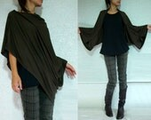 Dark Brown Slouchy Cardigan / Oversized Shrug Bolero - Jersey Shrug, Womens Long Sleeved Cardigan