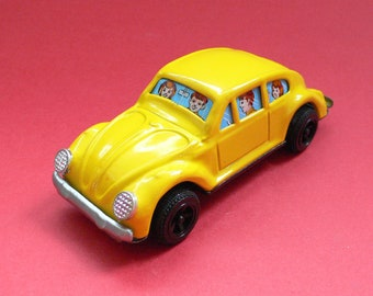Vintage Tin Toy Car VW Kever Beetle yellow Japan 1960's