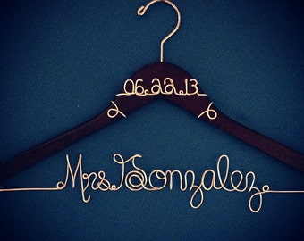 Personalized Custom Wire Wedding Hanger Bridal Hanger, Name Hanger