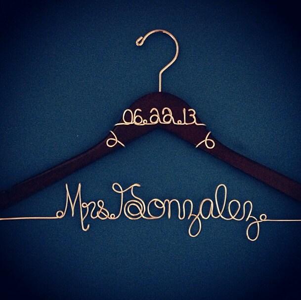 Personalized Custom Wire Wedding Hanger Bridal Hanger Name