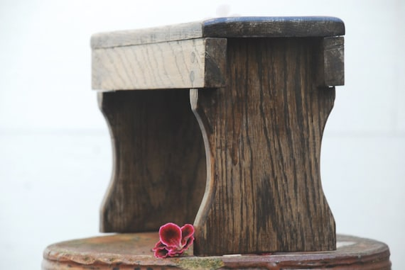 SALE Rustic oak step-stool hand-made and antiqued