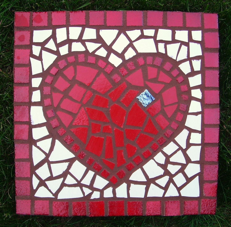 Mosaic Garden Stone Heart Garden Love. Exterior