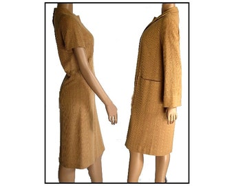 Vintage 1960s Dress Sweater Matching Coat Bombshell Swing Pinup Garden Party Mad Man Rockabilly Femme Fatale Couture Shift