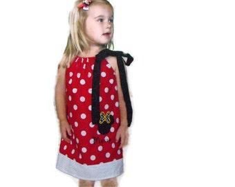 Girls Minnie Mouse Inspired Pillowcase Dress, girls dress, girls pillowcase dress, girls minnie mouse dress, girls appliqued dress