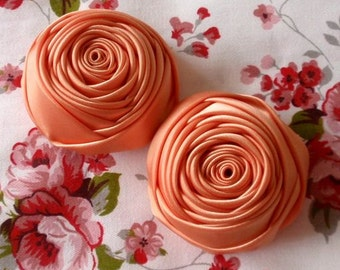 2 Handmade Rolled Ribbon Roses (2 inches) in Peach MY-012-122  Ready To Ship