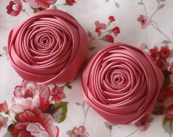 2 Handmade Rolled Ribbon Roses (2 inches) in Colonial MY-012-29  Ready To Ship