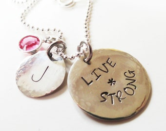 Live Strong Necklace in Sterling Silver, Personalized - Hand Stamped  - N0048
