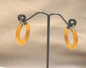 Yellow Jade Hoop Earrings