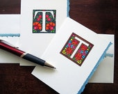 5 Hand-Coloured Initial T Note Cards (with envelopes)