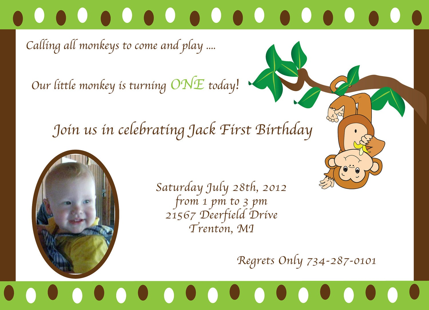 monkey theme 1st birthday invitation by trishadesigncreation