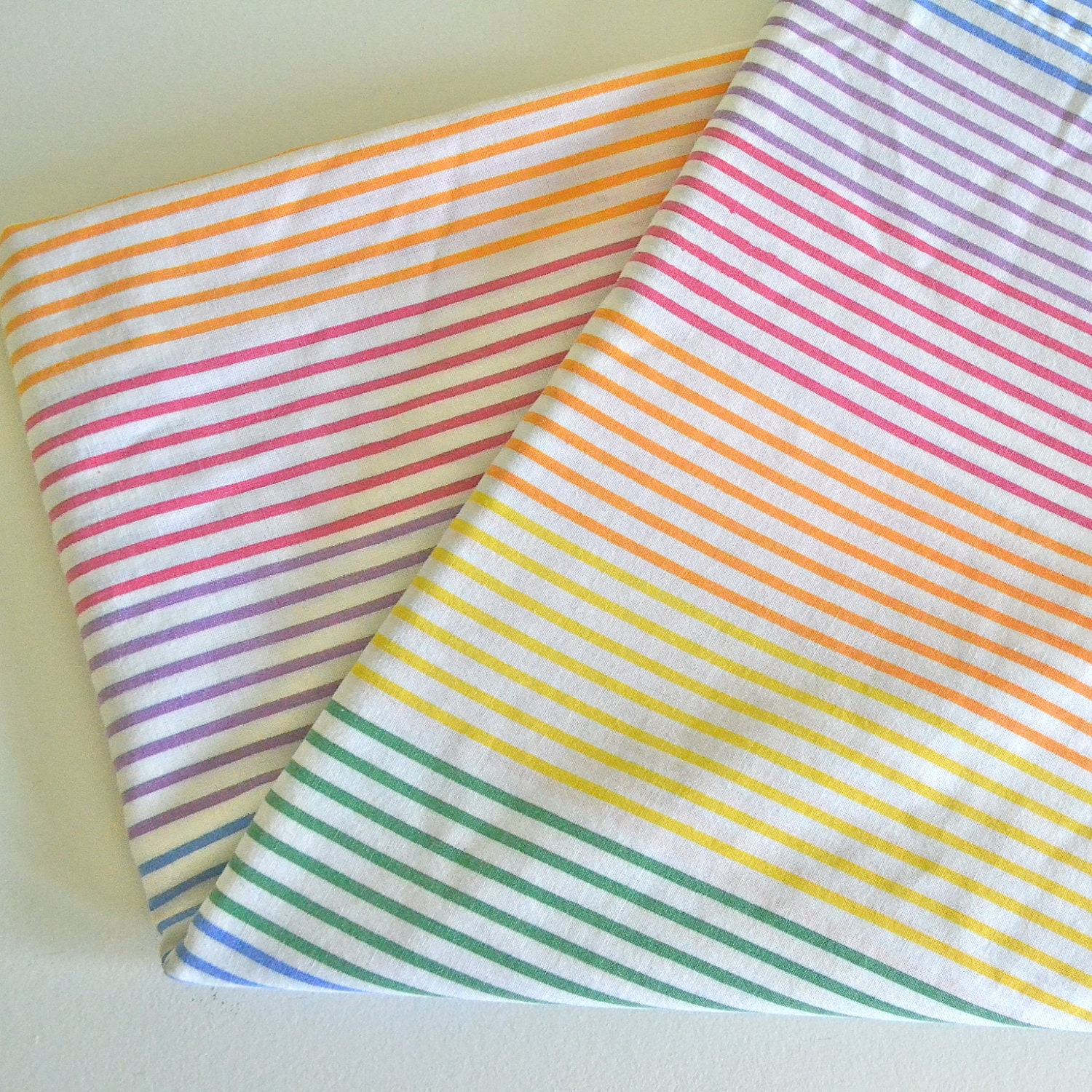 Rainbow R Room: Rainbow Stripe Vintage Twin Bed Flat Sheet