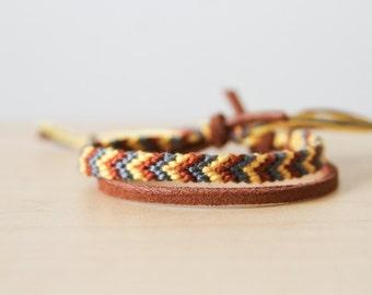 Woven Bracelet Grey Yellow and Brown Chevron Friendship Bracelet / Christmas Gift/ Stocking Stuffer