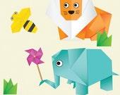 Nursery Art, Children Decor, vinyl stickers, wall decals, Animals illustration, origamii