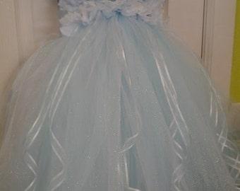 Disney Princess inspired Cinderella Tutu dress, perfect princess halloween costume with matching hair piece 12m-5t