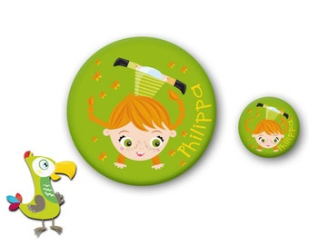 Pippi button and mirror set
