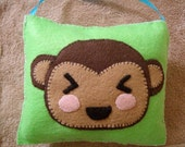Nursery wall art, felt monkey pillow
