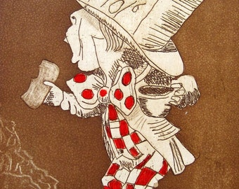 Alice in Wonderland Series - Mad Hatter - Tribute to  Tenniel. Etching in sepia with hand painted accents.
