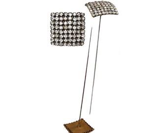 Vintage Square Rhinestone Hat Pin
