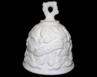 Vintage Fenton Milk White Glass Bride and Groom Bell