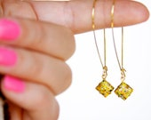 Yellow Glass with Paint Splash Dangle Earrings