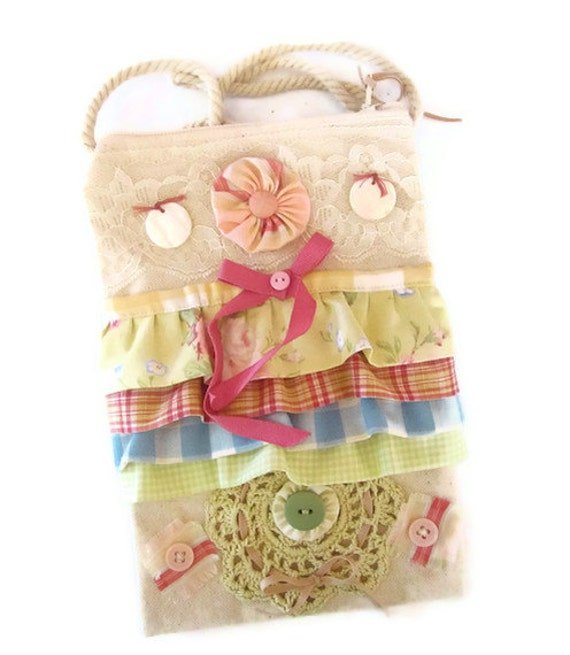 Canvas Hip Bag Shabby Chic Lace Ruffles Buttons