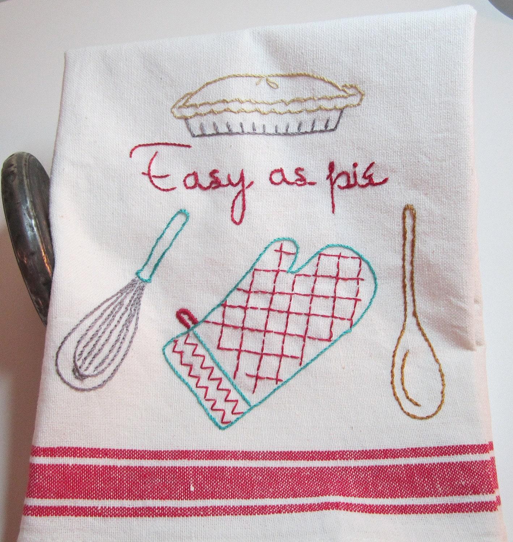 Flour Sack Dish Towel Embroidered Retro Deco Kitchen
