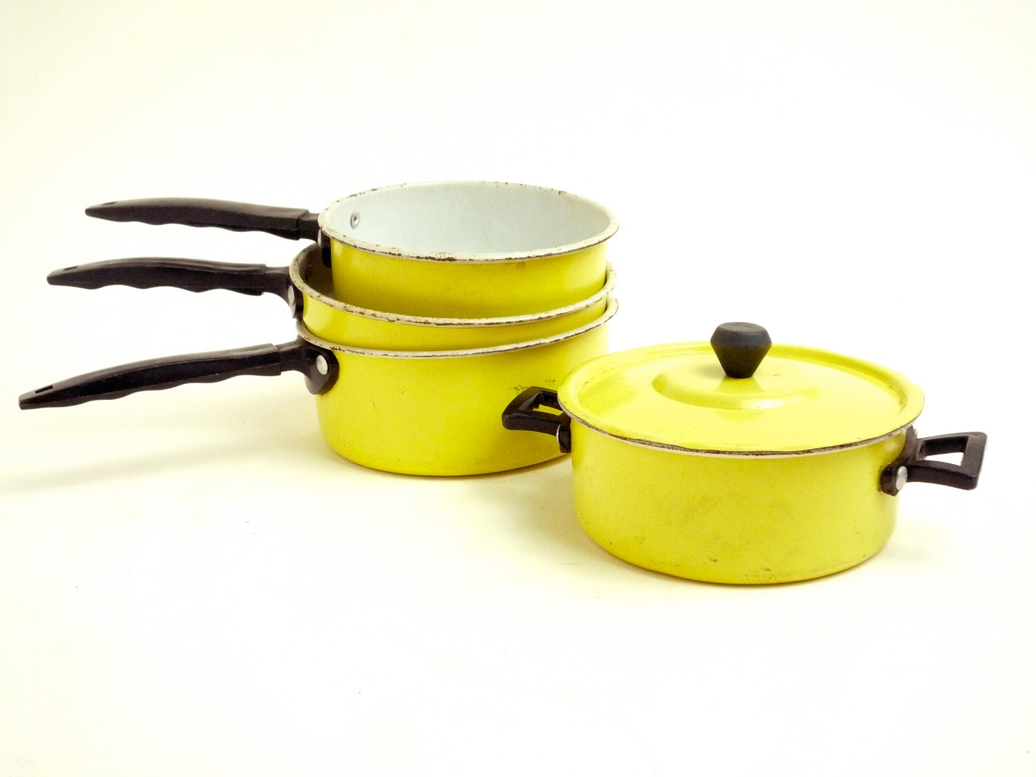 Vintage Toy Pot and Pan Set Tin Yellow Play Kitchen by ...