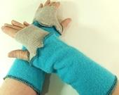 Aqua fingerless gloves, Cuffs, wrist warmers, fingerless gloves, arm warmers