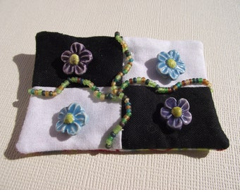 Black and White artsy flowers pin brooch