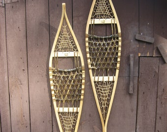 """New Traditional Handcrafted Wood and Rawhide Ojibwa Snowshoes 11""""X54"""""""