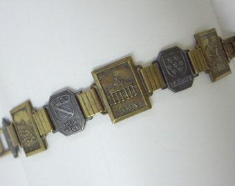 Vintage German Brass & Silver Province Bracelet