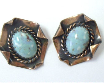 Vintage Copper Turquoise Clip Earrings