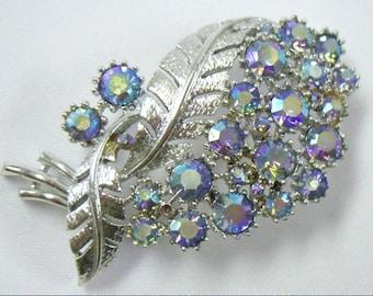 Vintage CORO Purple AB Rhinestone Silver Brooch Pin