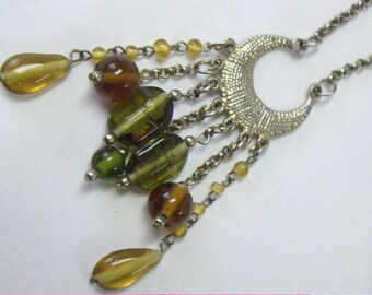 Vintage Glass Bead Dangle Long Necklace