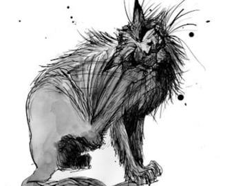 Print -Cat Art, Itchy cat ink drawing archival print scratching cat drawing