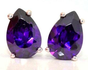 4 Carat Amethyst Pear Shape Stud Earrings .925 Sterling Silver Rhodium Finish
