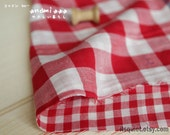 Japanese imported cotton gauze, red gingham, silky soft cotton fabric, dress fabric, sold by half a yard