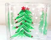 SALE! Christmas Tree Hand Painted Glass Vase Votive Trinket Jewelry Holder