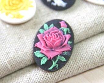 6  pcs of resin rose cameo -18x25mm--0161-14-magenta on black