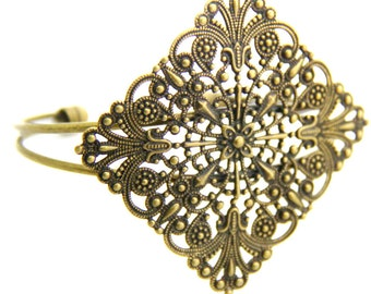 2 pcs of brass filigree cuff bracelet-5502-antique bronze