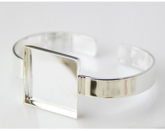 2 pcs of brass cuff bracelet with 25mm sqaure mounting setting-5518-silver