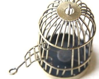 6 pcs Of metal bird cage pendant 28x28x35mm-MP1009-antique bronze