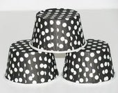 12 Black polka dot baking cups,candy cups,nut cups,cupcake liners,treat favors