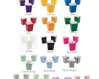 12 Mini Popcorn Boxes treat Favors You Pick Your Colors