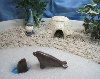Seal Friends for Winter Wonderland Fairy Garden OOAK handmade miniature